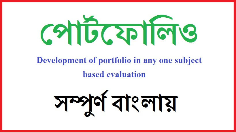 Development portfolio any one subject based evaluation