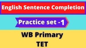 English Sentence Completion - WB Primary TET Practice Set - 1