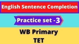 English Sentence Completion - WB Primary TET Practice Set - 3