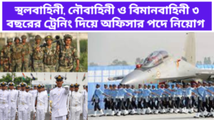 Recruitment of officers in the Army Navy and Air Force with 3 years of training
